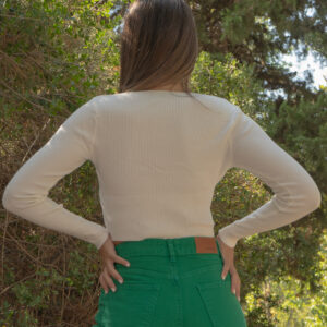 Jasmine-Μακρυμάνικη μπλούζα crop λευκή