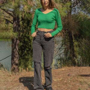 Jasmine-Μακρυμάνικη μπλούζα crop πράσινη