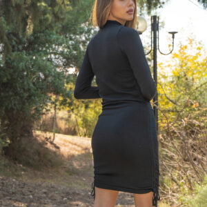 Rea-Φόρεμα μαύρο με σούρες